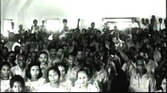 A photo taking during a community meeting in the build up to the vote