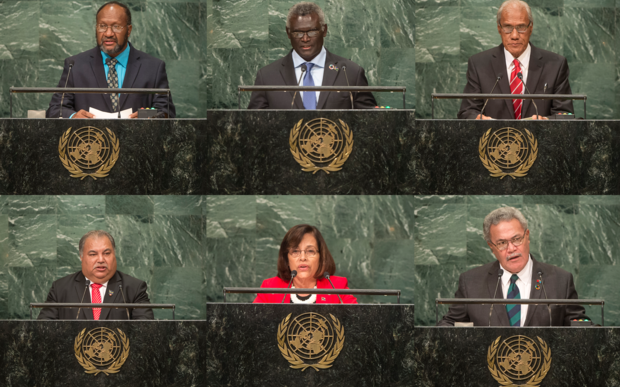 Pacific leaders at the UN General Assembly the issue of West Papua. Top L to R: Vanuatu Prime Minister Charlot Salwai; Solomon Islands Prime Minister Manasseh Sogavare; Tonga Prime Minister 'Akilisi Pohiva. Bottom L to R: Nauru President Baron Waqa; Marshall Islands President Hilda Heine; Tuvalu Prime Minister Enele Sopoaga Photo: UN Photo