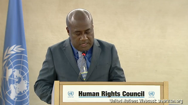 Vanuatu Minister of Justice addresses UN Human Rights Council on behalf of seven Pacific nations